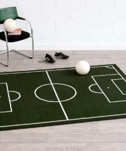 Voetbalveld vloerkleed - groen/crème - sfeer, thumbnail