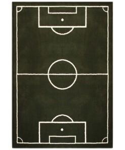 Voetbalveld vloerkleed - groen/crème - overzicht boven