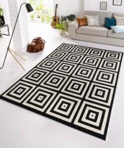 Design vloerkleed geblokt Mono - zwart/crème - sfeer, thumbnail