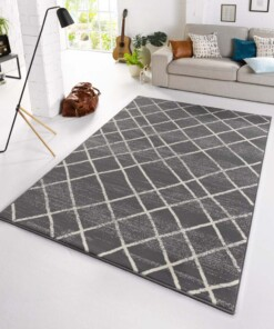 Design vloerkleed Rhombe - grijs/crème - sfeer, thumbnail