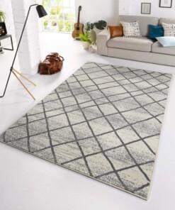 Design vloerkleed Rhombe - crème/grijs - sfeer, thumbnail