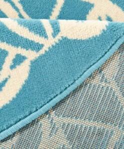 Modern vloerkleed rond Mandala - blauw - close up