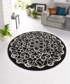 Modern vloerkleed rond Mandala - zwart - sfeer, thumbnail
