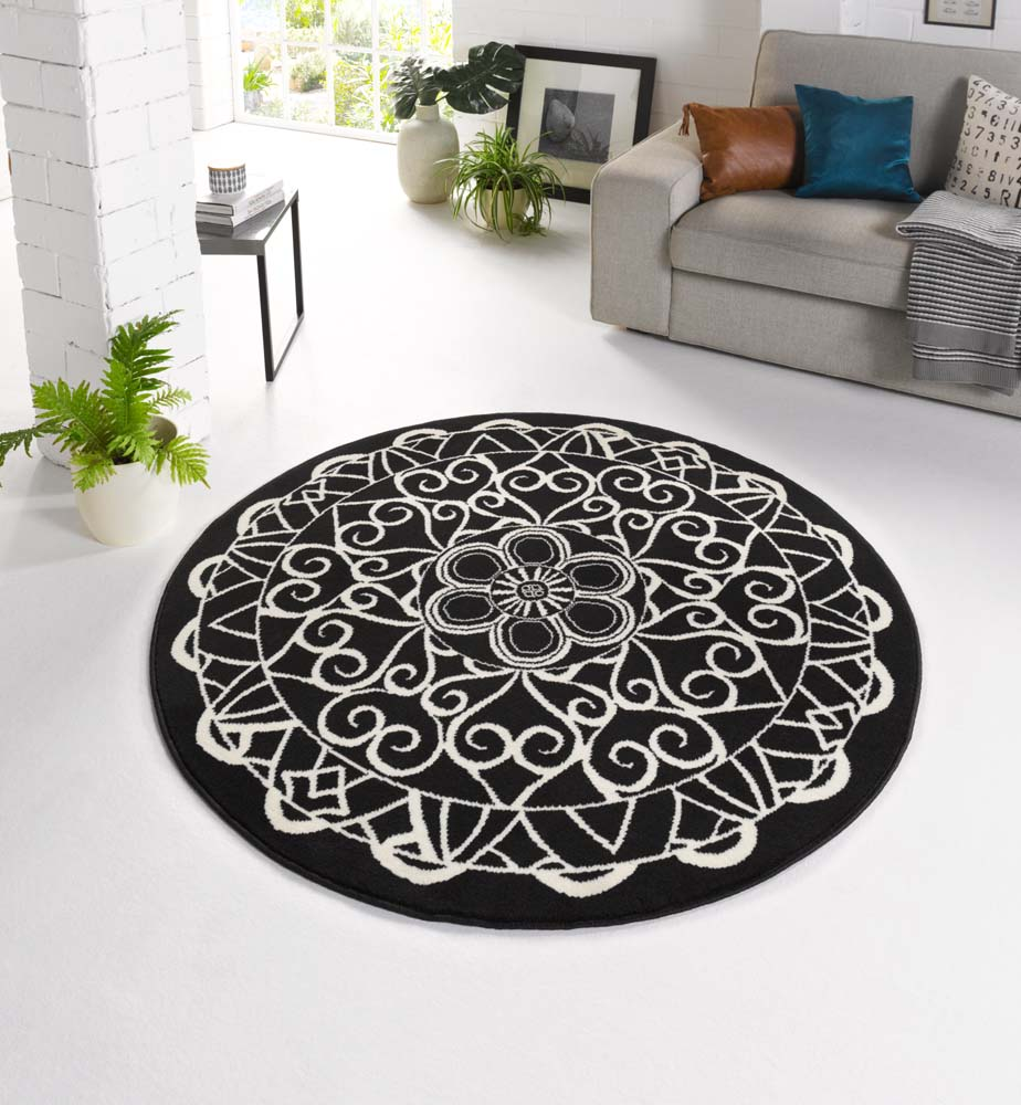 design vloerkleed mandala rond tapeso. Black Bedroom Furniture Sets. Home Design Ideas