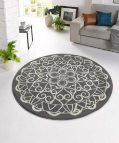 Modern vloerkleed rond Mandala - grijs - sfeer, thumbnail