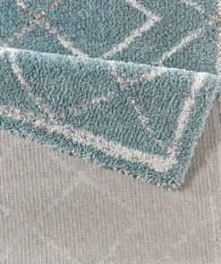 Hoogpolig vloerkleed ruiten Loft - blauw/crème - close up