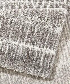 Hoogpolig modern vloerkleed Nova -grijs - close up