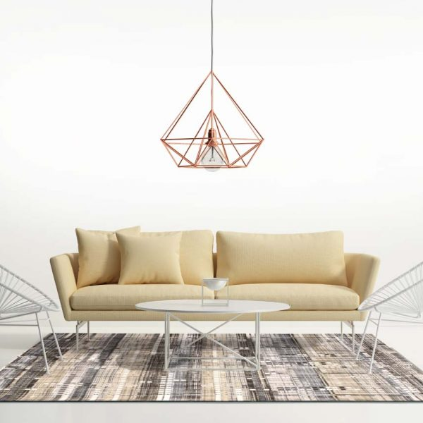Minimal design white interior with himmeli diamond lamp