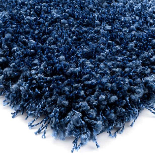 Hoogpolig Vloerkleed Donker Blauw, Shaggy Prime