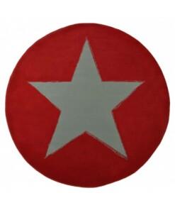 Modern vloerkleed rond Ster - rood - overzicht boven, thumbnail
