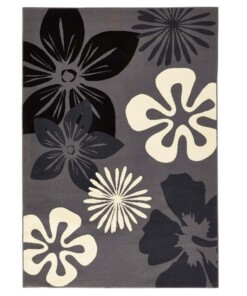 Modern vloerkleed bloemen Flora - grijs - overzicht schuin