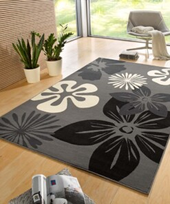 Modern vloerkleed bloemen Flora - grijs