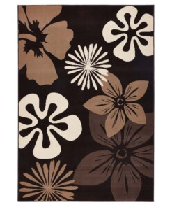 Modern vloerkleed bloemen Flora - bruin - overzicht schuin