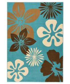 Modern vloerkleed bloemen Flora - blauw - overzicht schuin