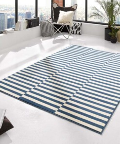 Modern vloerkleed Panel - blauw/crème - sfeer, thumbnail
