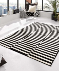 Modern Vloerkleed Panel - zwart/crème - sfeer, thumbnail