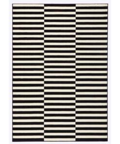 Modern Vloerkleed Panel - zwart/crème - overzicht schuin