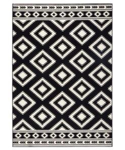 Modern vloerkleed ruiten Ethno - zwart/crème - overzicht schuin