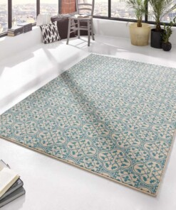 Modern vloerkleed Pattern - blauw/crème - sfeer, thumbnail