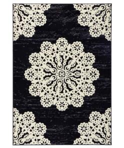 Modern vloerkleed Lace - zwart/crème - overzicht schuin