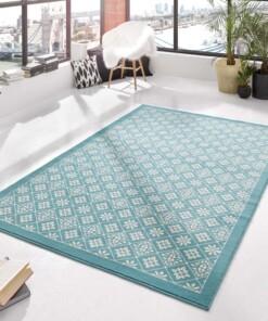Modern vloerkleed ruiten Tile - blauw/crème - sfeer, thumbnail