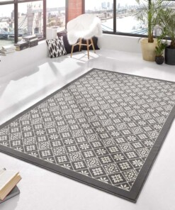 Modern vloerkleed ruiten Tile - grijs/crème - sfeer, thumbnail