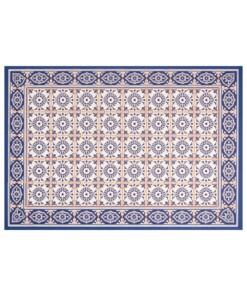 Vloermat vinyl Aurelie - blauw/apricot - overzicht boven, thumbnail