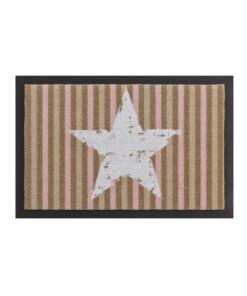 Deurmat ster & strepen Wasbaar 30°C - roze/bruin - overzicht boven, thumbnail