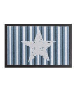 Deurmat ster & strepen Wasbaar 30°C - blauw - overzicht boven, thumbnail