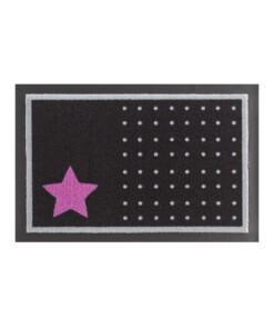Deurmat sterren en stippen Wasbaar 30°C - zwart/roze - overzicht boven, thumbnail