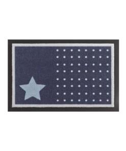 Deurmat sterren en stippen Wasbaar 30°C - donkerblauw - overzicht boven, thumbnail