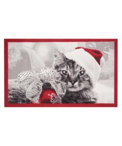 Deurmat kerst kat Wasbaar 30°C - overzicht schuin, thumbnail