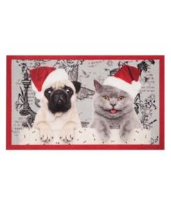 Deurmat kerst hond & kat Wasbaar 30°C - overzicht schuin, thumbnail