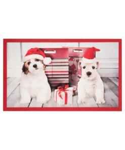 Deurmat kerst kersthonden Wasbaar 30°C - rood - overzicht schuin, thumbnail