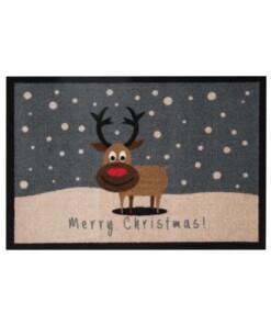 Deurmat kerst Merry Christmas rendier Wasbaar 30°C - overzicht schuin, thumbnail
