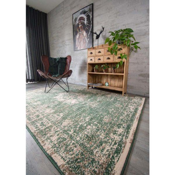 Vintage vloerkleed pixel Urban green hoek met indiaan
