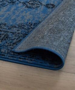 Vintage vloerkleed Joy de Vivre Pixel - blauw/grijs - close up