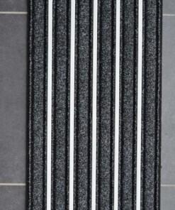Gestreepte deurmat Alumat - zwart