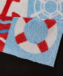 Kindervloerkleed Nautic - blauw/rood - Wasbaar 30°C - close up