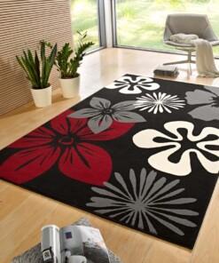 Modern vloerkleed bloemen Flora - zwart/rood - sfeer, thumbnail