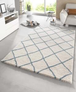 Modern design vloerkleed ruiten Diva - crème/blauw - sfeer, thumbnail