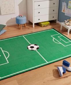 Kindervloerkleed voetbalveld & voetbal - groen - sfeer, thumbnail