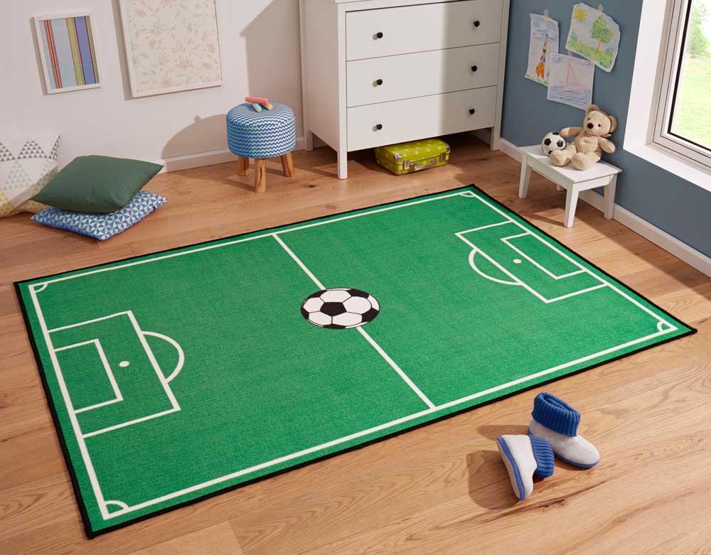 Onwijs Kindervloerkleed voetbalveld & voetbal - groen   Tapeso HK-03