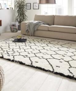 Hoogpolig vloerkleed Frame - wit/zwart - sfeer, thumbnail