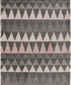 Hoogpolig vloerkleed Triangle - grijs/roze - overzicht boven
