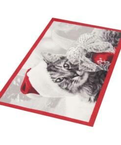 Deurmat kerst kat Wasbaar 30°C - overzicht schuin