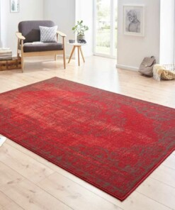 Modern vloerkleed Cordelia - rood/grijs - sfeer, thumbnail