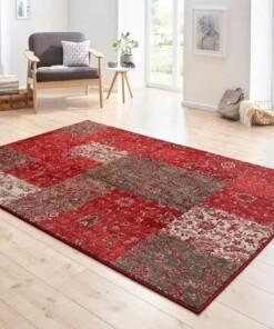 Patchwork vloerkleed Kirie - rood/bruin - sfeer, thumbnail