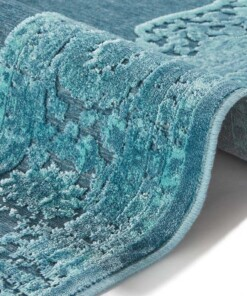 Vintage vloerkleed Willow - blauw - close up