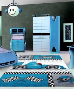 Vloerkleed auto kinderen - blauw - sfeer, thumbnail